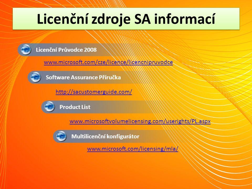 Licenční zdroje SA informací Multilicenční konfigurátor Licenční Průvodce 2008 Software Assurance Příručka Product List http://sacustomerguide.com/ ww