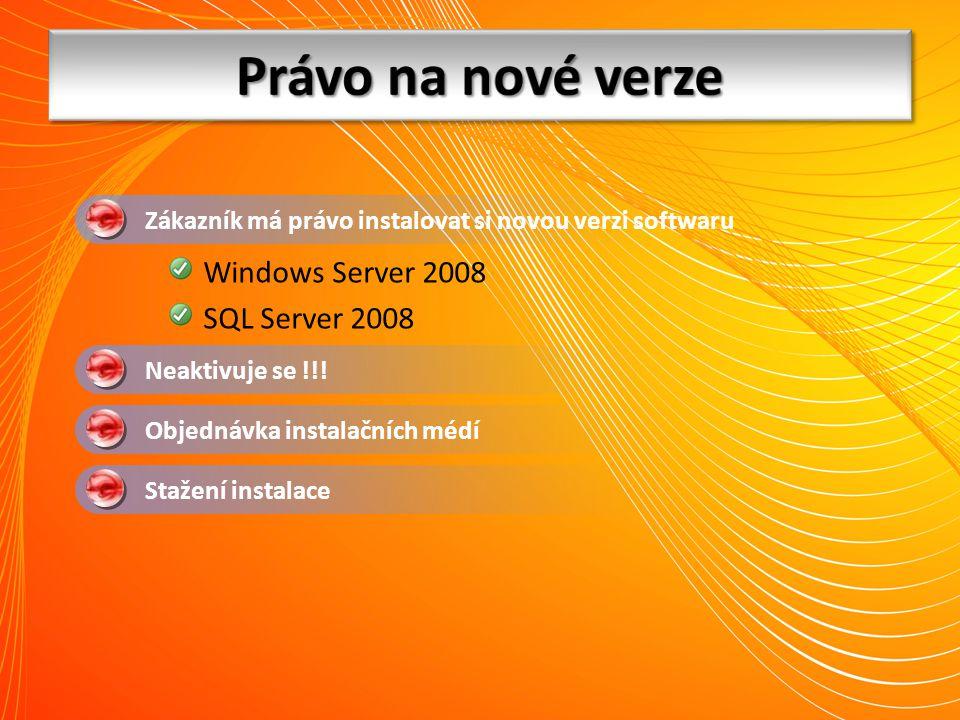 Neaktivuje se !!! Stažení instalace Zákazník má právo instalovat si novou verzi softwaru Objednávka instalačních médí Windows Server 2008 SQL Server 2