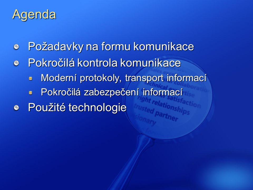 Agenda Požadavky na formu komunikace Pokročilá kontrola komunikace Moderní protokoly, transport informací Pokročilá zabezpečení informací Použité technologie