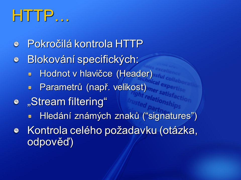 HTTP… Pokročilá kontrola HTTP Blokování specifických: Hodnot v hlavičce (Header) Parametrů (např.