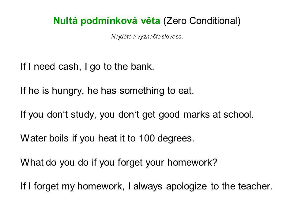 Nultá podmínková věta (Zero Conditional) Najděte a vyznačte slovesa.