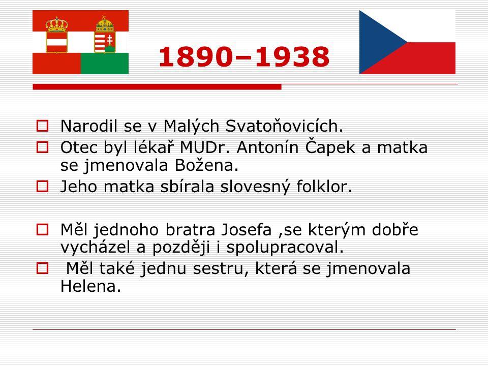  Narodil se v Malých Svatoňovicích.  Otec byl lékař MUDr. Antonín Čapek a matka se jmenovala Božena.  Jeho matka sbírala slovesný folklor.  Měl je