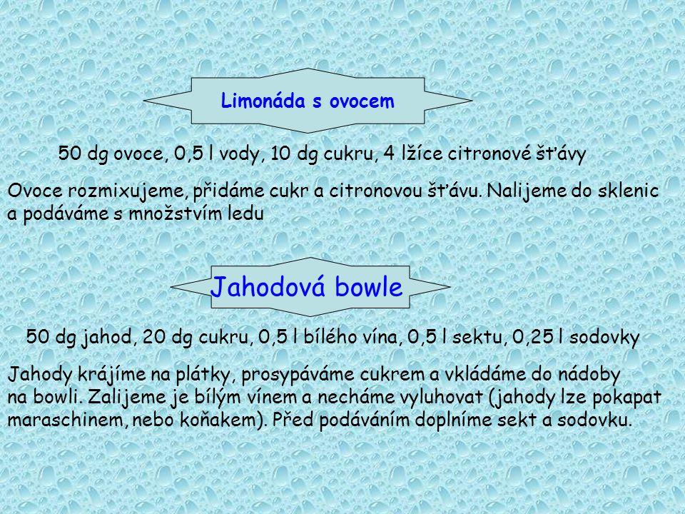 Limonáda s ovocem 50 dg ovoce, 0,5 l vody, 10 dg cukru, 4 lžíce citronové šťávy Ovoce rozmixujeme, přidáme cukr a citronovou šťávu.