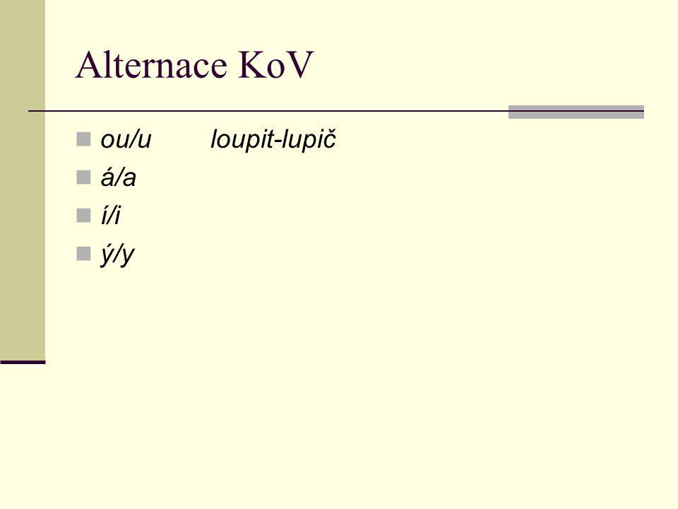 Alternace KoV ou/uloupit-lupič á/a í/i ý/y