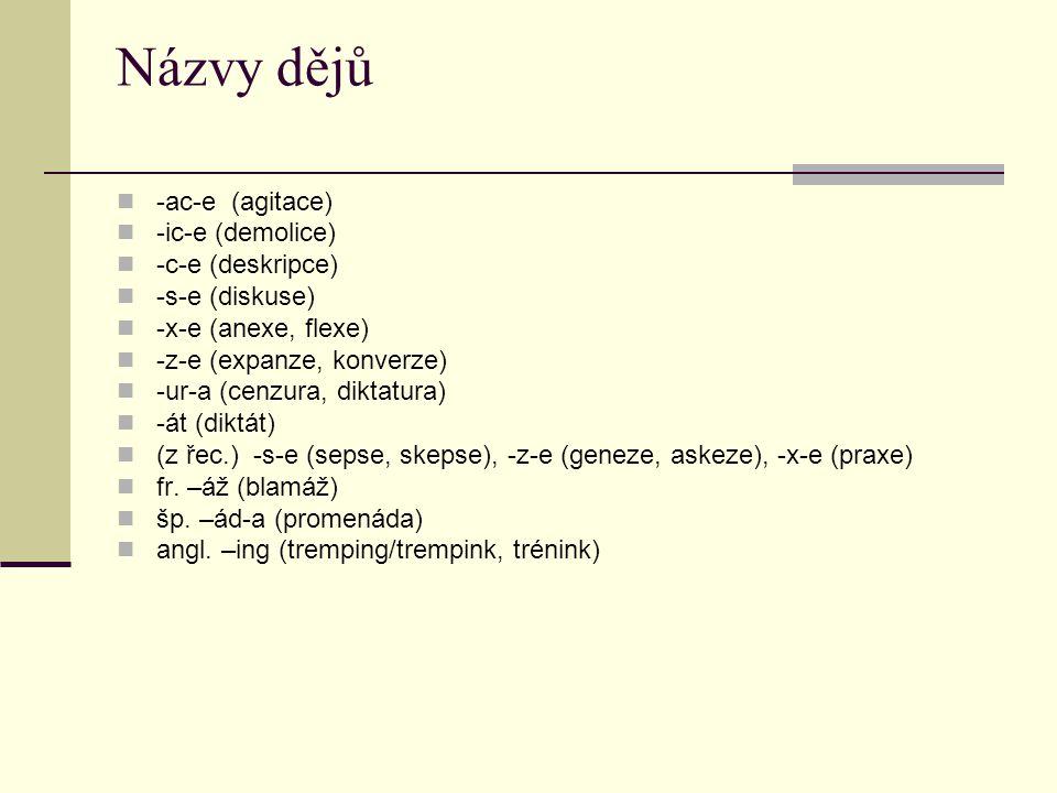Názvy dějů -ac-e (agitace) -ic-e (demolice) -c-e (deskripce) -s-e (diskuse) -x-e (anexe, flexe) -z-e (expanze, konverze) -ur-a (cenzura, diktatura) -á