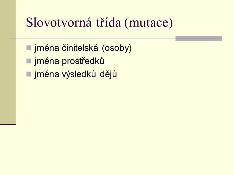 Slovotvorná třída (mutace) jména činitelská (osoby) jména prostředků jména výsledků dějů