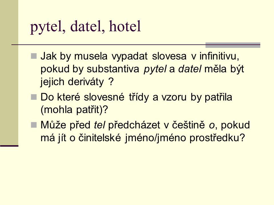 pytel, datel, hotel Jak by musela vypadat slovesa v infinitivu, pokud by substantiva pytel a datel měla být jejich deriváty .