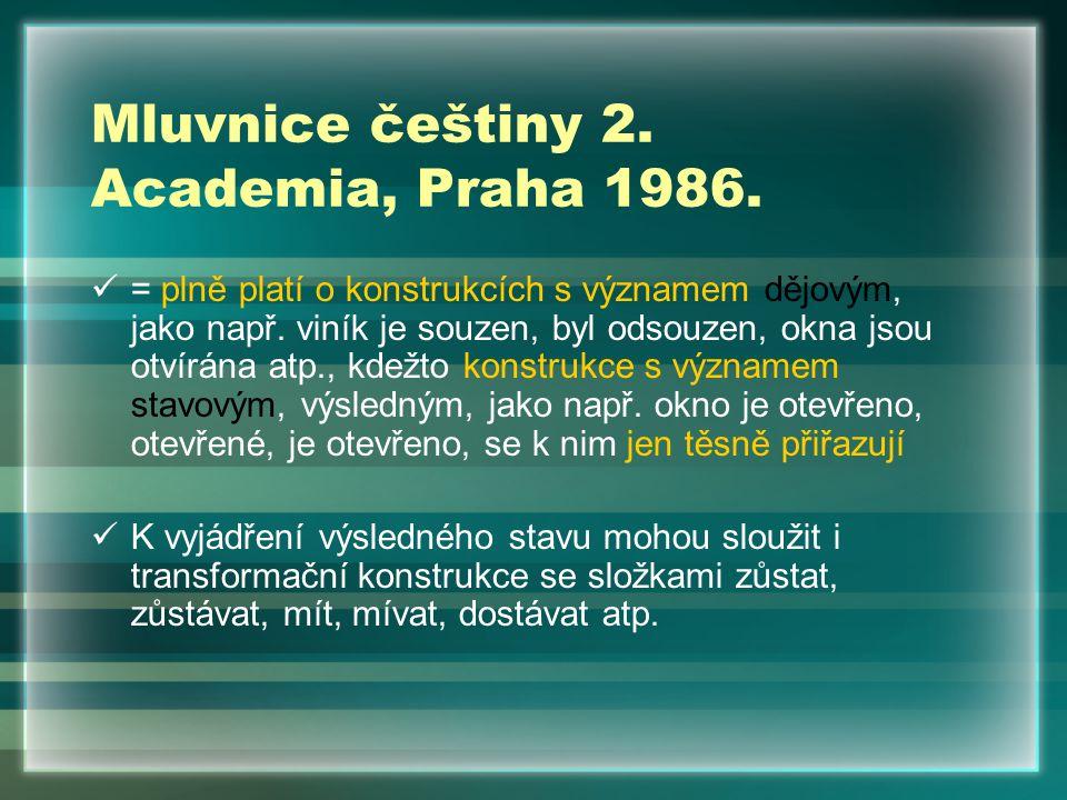 Mluvnice češtiny 2. Academia, Praha 1986. = plně platí o konstrukcích s významem dějovým, jako např. viník je souzen, byl odsouzen, okna jsou otvírána