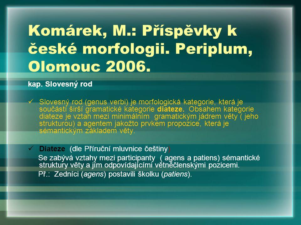Komárek, M.: Příspěvky k české morfologii. Periplum, Olomouc 2006. kap. Slovesný rod Slovesný rod (genus verbi) je morfologická kategorie, která je so