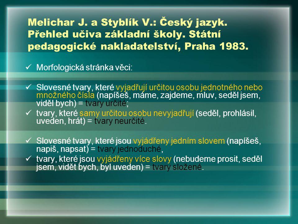 Mluvnice češtiny 2.Academia, Praha 1986. Funkční tvarosloví kap.