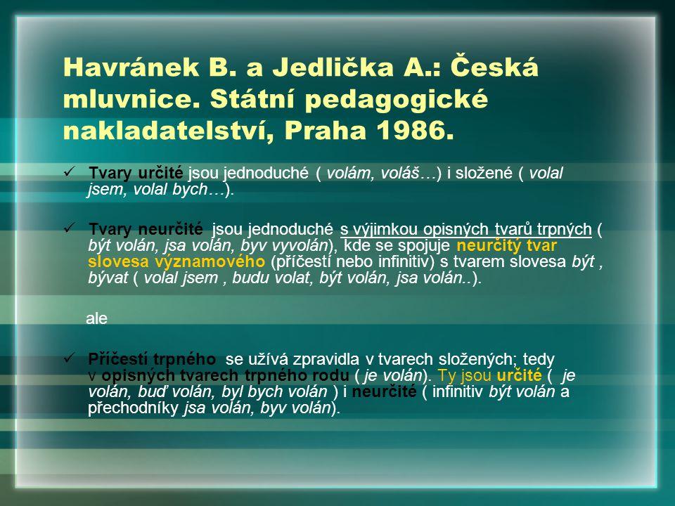 Havránek B. a Jedlička A.: Česká mluvnice. Státní pedagogické nakladatelství, Praha 1986. Tvary určité jsou jednoduché ( volám, voláš…) i složené ( vo