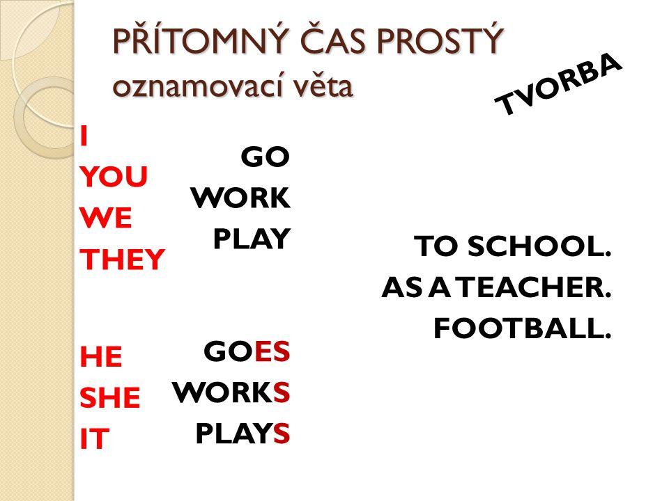 PŘÍTOMNÝ ČAS PROSTÝ oznamovací věta TVORBA I YOU WE THEY GO WORK PLAY GOES WORKS PLAYS TO SCHOOL.