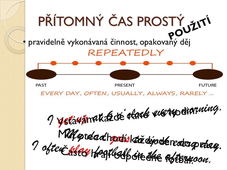 PŘÍTOMNÝ ČAS PROSTÝ POUŽITÍ činnosti nebo stavy, které probíhají po dlouhou dobu I live in Ostrava.