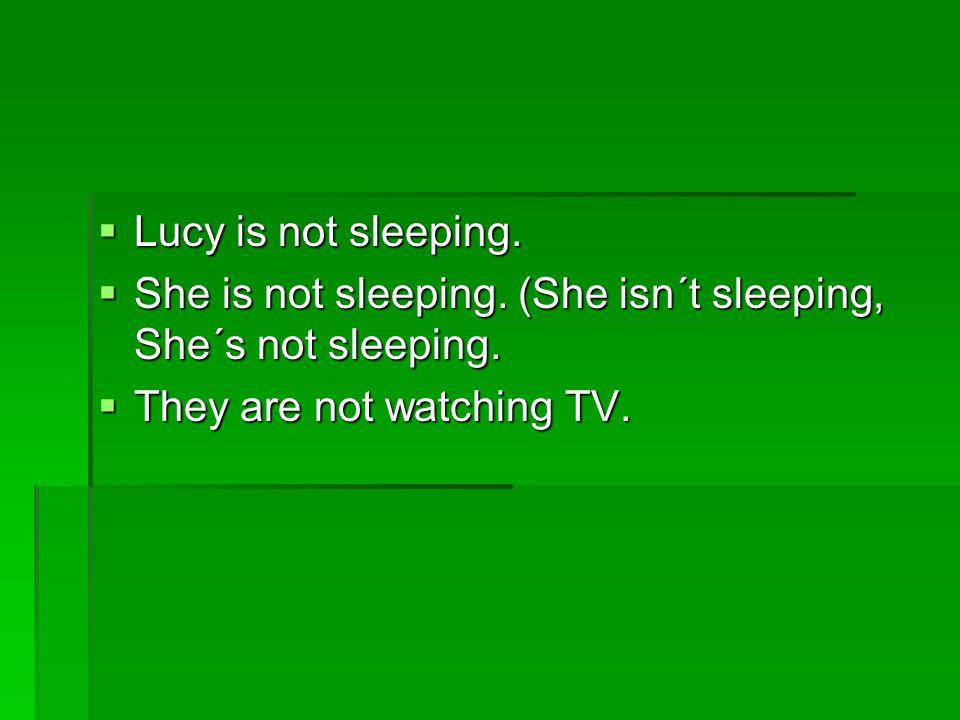  Lucy is not sleeping. She is not sleeping. (She isn´t sleeping, She´s not sleeping.