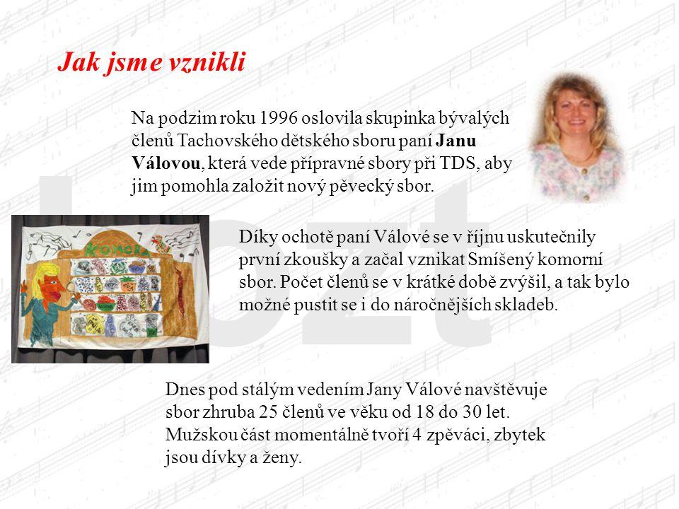 kozt Jak jsme vznikli Na podzim roku 1996 oslovila skupinka bývalých členů Tachovského dětského sboru paní Janu Válovou, která vede přípravné sbory při TDS, aby jim pomohla založit nový pěvecký sbor.