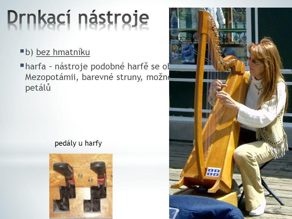  b) bez hmatníku  harfa – nástroje podobné harfě se objevují již v Egyptě či Mezopotámii, barevné struny, možnost posun o půltón pomocí petálů pedál