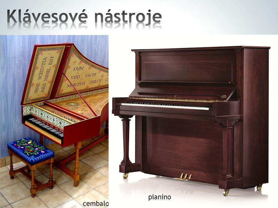 """ k rozeznívání strun slouží klaviatura  klavír (piano)  pianino  cembalo – struna narozdíl od klavíru není rozeznívána ůkladívkem"""", nýbrž ptačím b"""