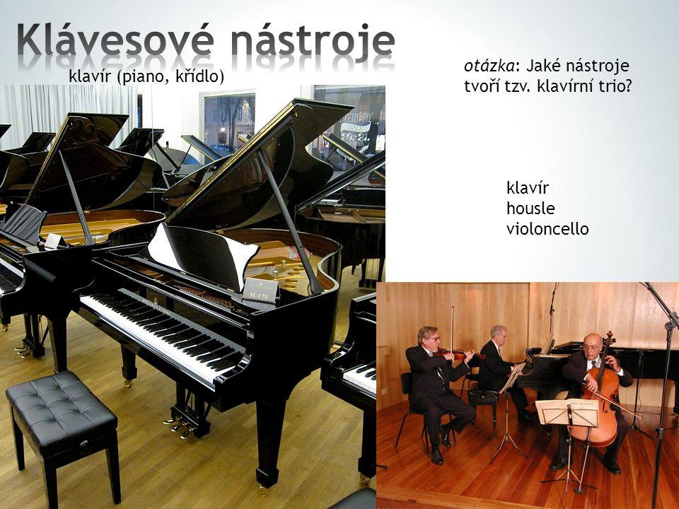 klavír (piano, křídlo) otázka: Jaké nástroje tvoří tzv. klavírní trio? klavír housle violoncello
