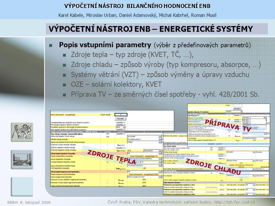 EEBW 8. listopad 2006 ČVUT Praha, FSV, Katedra technických zařízení budov, http://tzb.fsv.cvut.cz VÝPOČETNÍ NÁSTROJ ENB – ENERGETICKÉ SYSTÉMY Popis vs