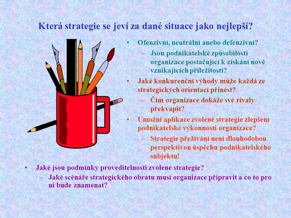 Která strategie se jeví za dané situace jako nejlepší? Ofenzivní, neutrální anebo defenzivní? –Jsou podnikatelské způsobilosti organizace postačující
