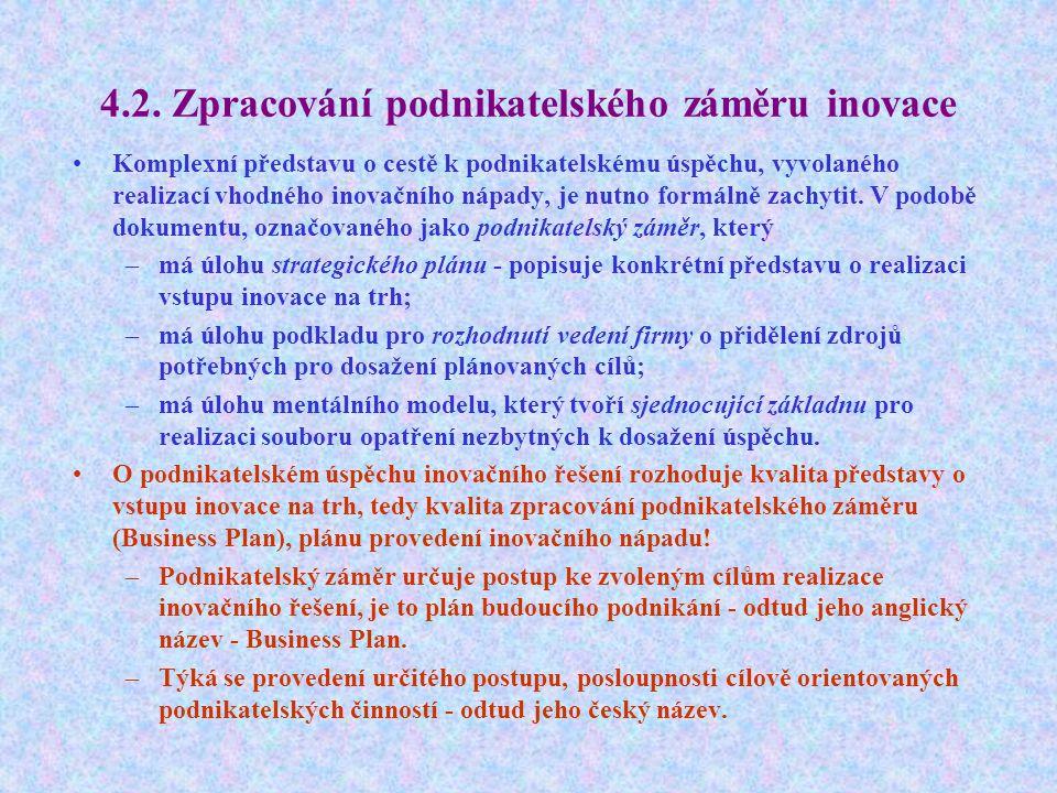 4.2. Zpracování podnikatelského záměru inovace Komplexní představu o cestě k podnikatelskému úspěchu, vyvolaného realizací vhodného inovačního nápady,