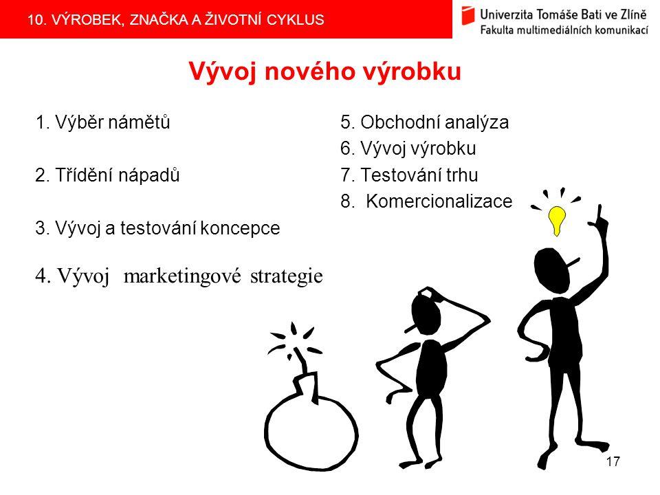 10. VÝROBEK, ZNAČKA A ŽIVOTNÍ CYKLUS 17 Vývoj nového výrobku 1. Výběr námětů 2. Třídění nápadů 3. Vývoj a testování koncepce 5. Obchodní analýza 6. Vý