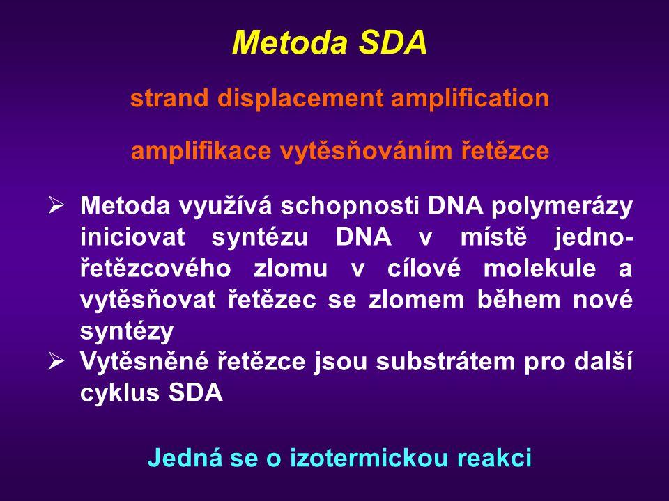 Metoda SDA amplifikace vytěsňováním řetězce strand displacement amplification   Metoda využívá schopnosti DNA polymerázy iniciovat syntézu DNA v místě jedno- řetězcového zlomu v cílové molekule a vytěsňovat řetězec se zlomem během nové syntézy   Vytěsněné řetězce jsou substrátem pro další cyklus SDA Jedná se o izotermickou reakci