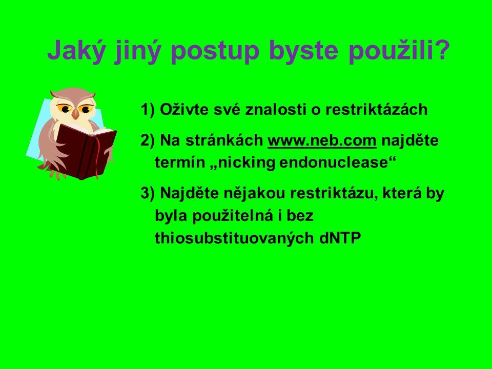 """Jaký jiný postup byste použili? 1) 1) Oživte své znalosti o restriktázách 2) 2) Na stránkách www.neb.com najděte termín """"nicking endonuclease"""" 3) 3) N"""