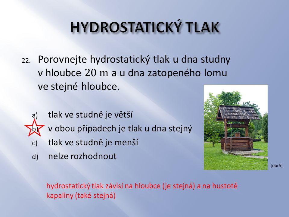 hydrostatický tlak závisí na hloubce (je stejná) a na hustotě kapaliny (také stejná) [obr5]