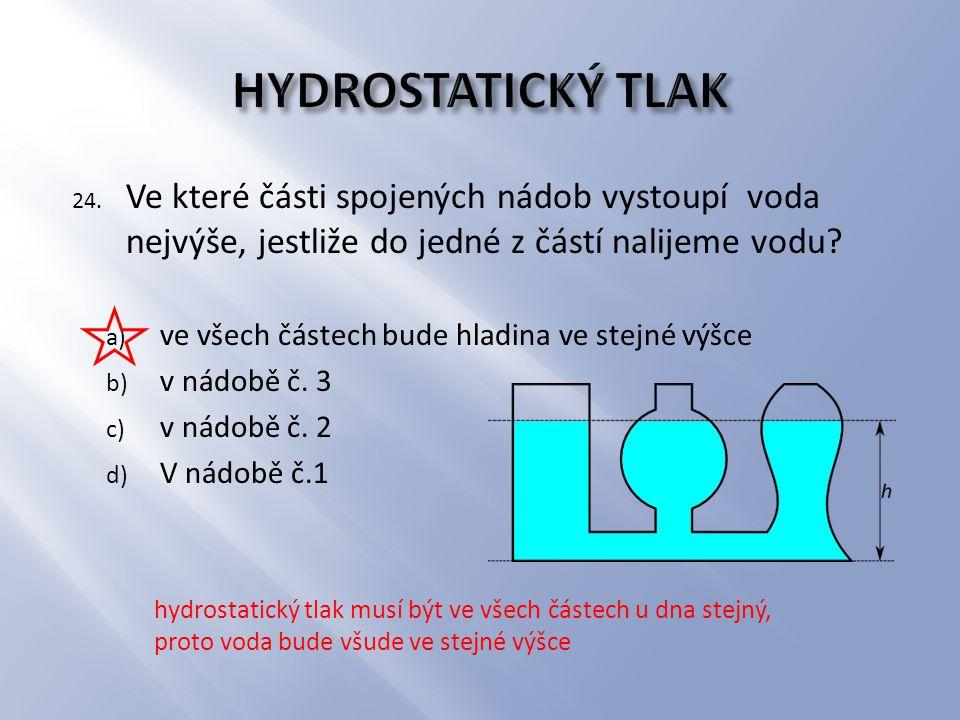 24. Ve které části spojených nádob vystoupí voda nejvýše, jestliže do jedné z částí nalijeme vodu? a) ve všech částech bude hladina ve stejné výšce b)
