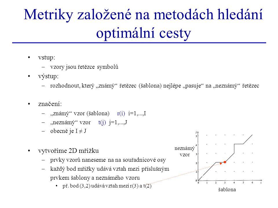 """Metriky založené na metodách hledání optimální cesty vstup: –vzory jsou řetězce symbolů výstup: –rozhodnout, který """"známý řetězec (šablona) nejlépe """"pasuje na """"neznámý řetězec značení: –""""známý vzor (šablona) r(i) i=1,...,I –""""neznámý vzor t(j) j=1,...,J –obecně je I ≠ J vytvoříme 2D mřížku –prvky vzorů naneseme na na souřadnicové osy –každý bod mřížky udává vztah mezi příslušným prvkem šablony a neznámého vzoru př."""