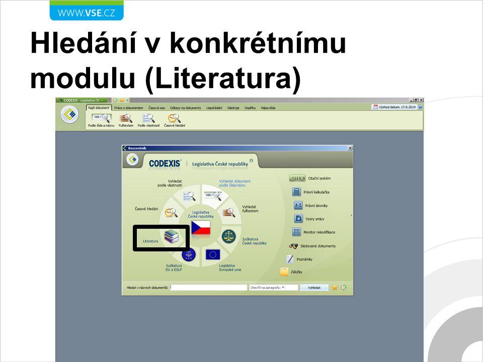 Hledání v konkrétnímu modulu (Literatura)