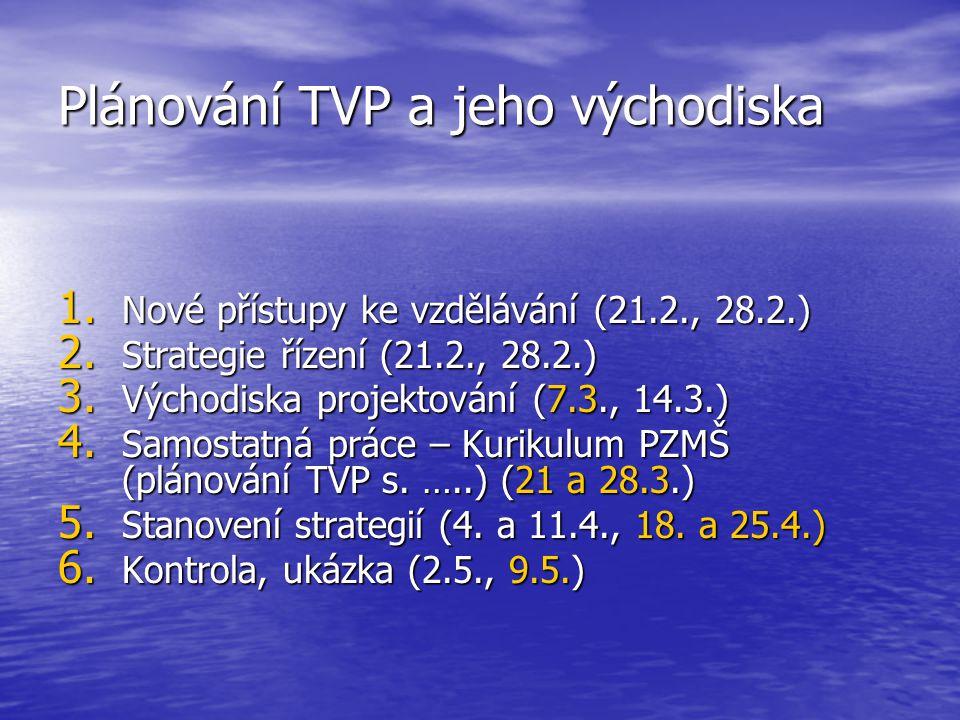 Plánování TVP a jeho východiska 1.Nové přístupy ke vzdělávání (21.2., 28.2.) 2.