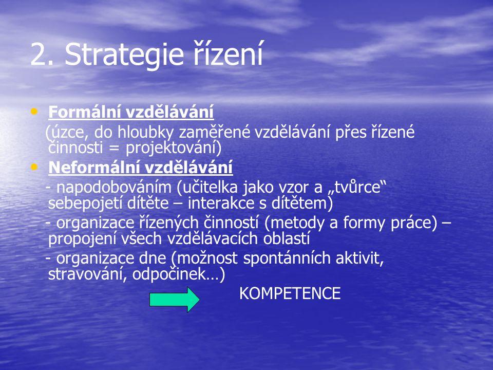 2. Strategie řízení Formální vzdělávání (úzce, do hloubky zaměřené vzdělávání přes řízené činnosti = projektování) Neformální vzdělávání - napodobován