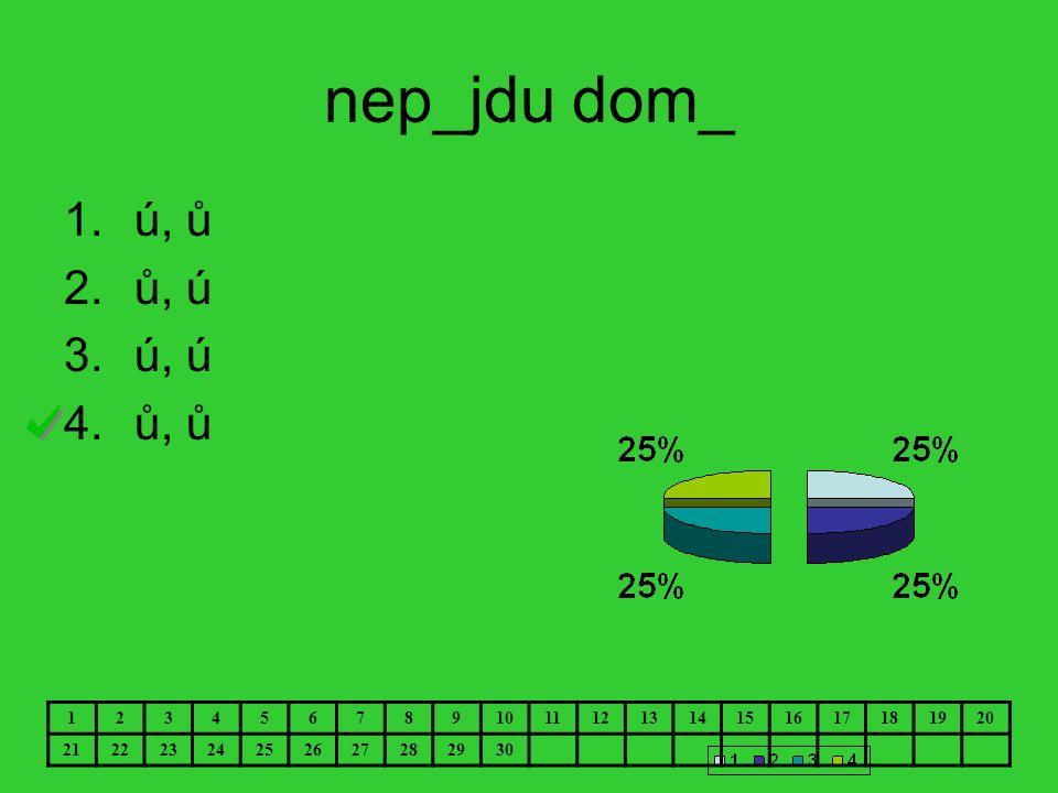nep_jdu dom_ 1.ú, ů 2.ů, ú 3.ú, ú 4.ů, ů 1234567891011121314151617181920 21222324252627282930