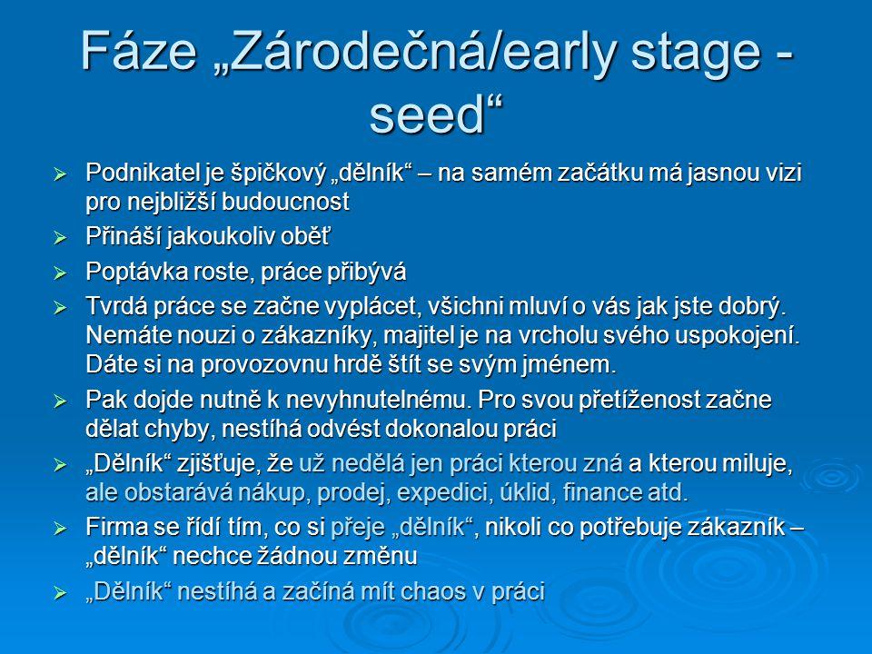 """Fáze """"Zárodečná/early stage - seed""""  Podnikatel je špičkový """"dělník"""" – na samém začátku má jasnou vizi pro nejbližší budoucnost  Přináší jakoukoliv"""