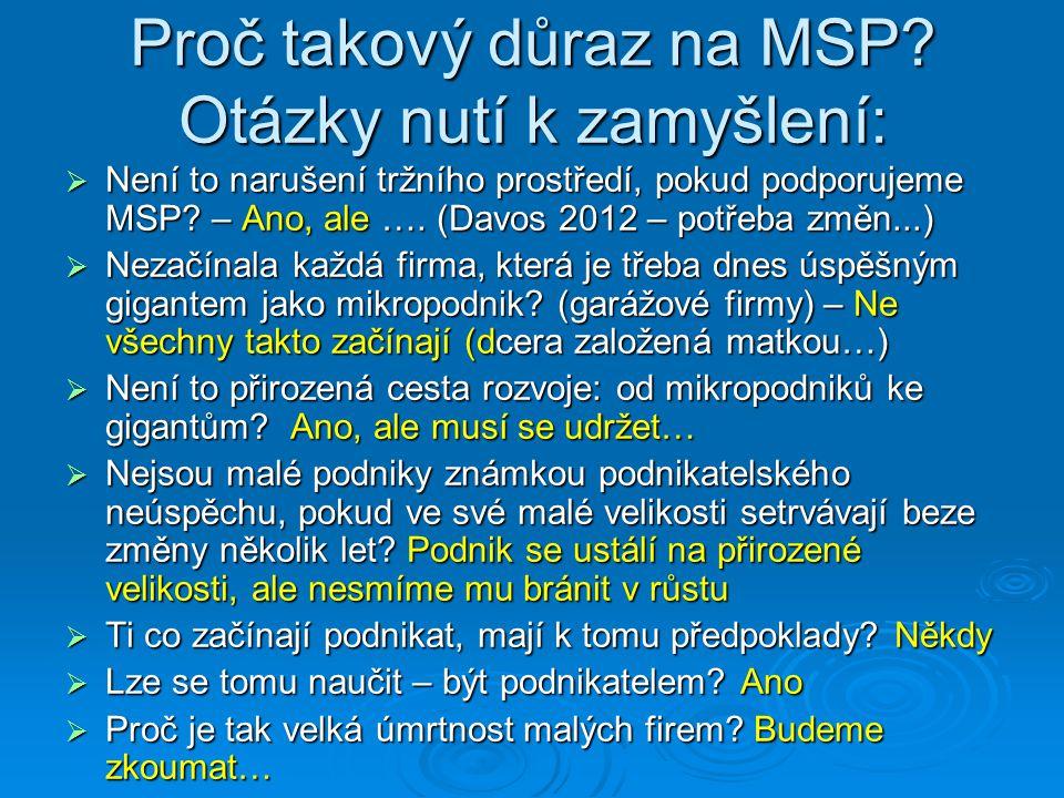 Proč takový důraz na MSP? Otázky nutí k zamyšlení:  Není to narušení tržního prostředí, pokud podporujeme MSP? – Ano, ale …. (Davos 2012 – potřeba zm