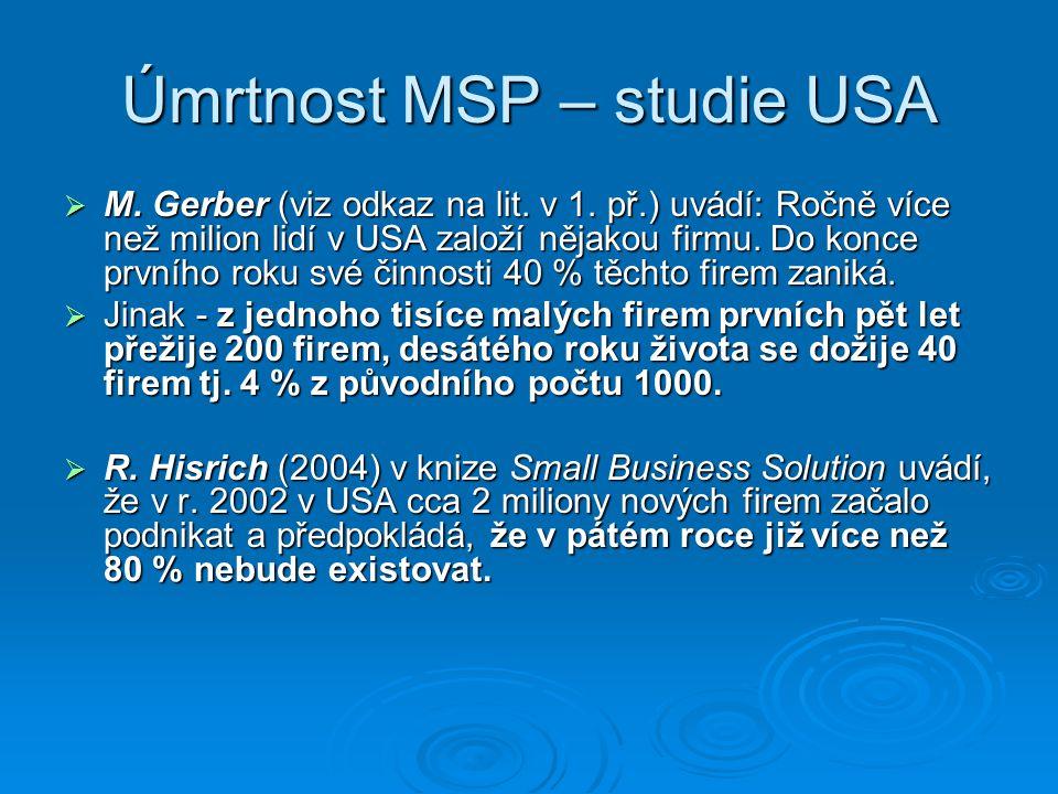 Úmrtnost MSP – studie USA  M. Gerber (viz odkaz na lit.