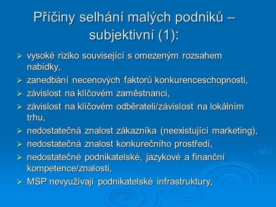 Příčiny selhání malých podniků – subjektivní (1) :  vysoké riziko související s omezeným rozsahem nabídky,  zanedbání necenových faktorů konkurenceschopnosti,  závislost na klíčovém zaměstnanci,  závislost na klíčovém odběrateli/závislost na lokálním trhu,  nedostatečná znalost zákazníka (neexistující marketing),  nedostatečná znalost konkurečního prostředí,  nedostatečné podnikatelské, jazykové a finanční kompetence/znalosti,  MSP nevyužívají podnikatelské infrastruktury,  MSP nevyužívají podnikatelské infrastruktury,