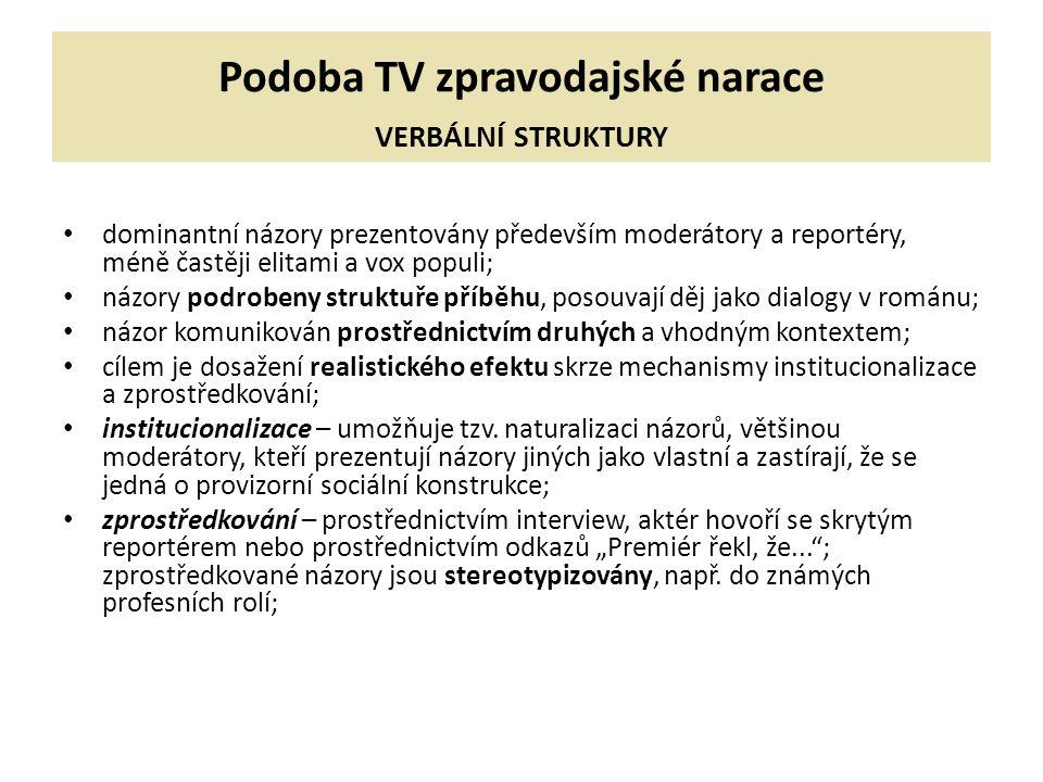 Podoba TV zpravodajské narace VERBÁLNÍ STRUKTURY dominantní názory prezentovány především moderátory a reportéry, méně častěji elitami a vox populi; n