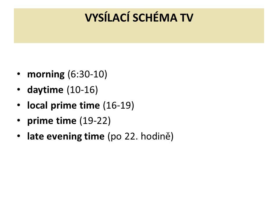 VYSÍLACÍ SCHÉMA TV morning (6:30-10) daytime (10-16) local prime time (16-19) prime time (19-22) late evening time (po 22. hodině)