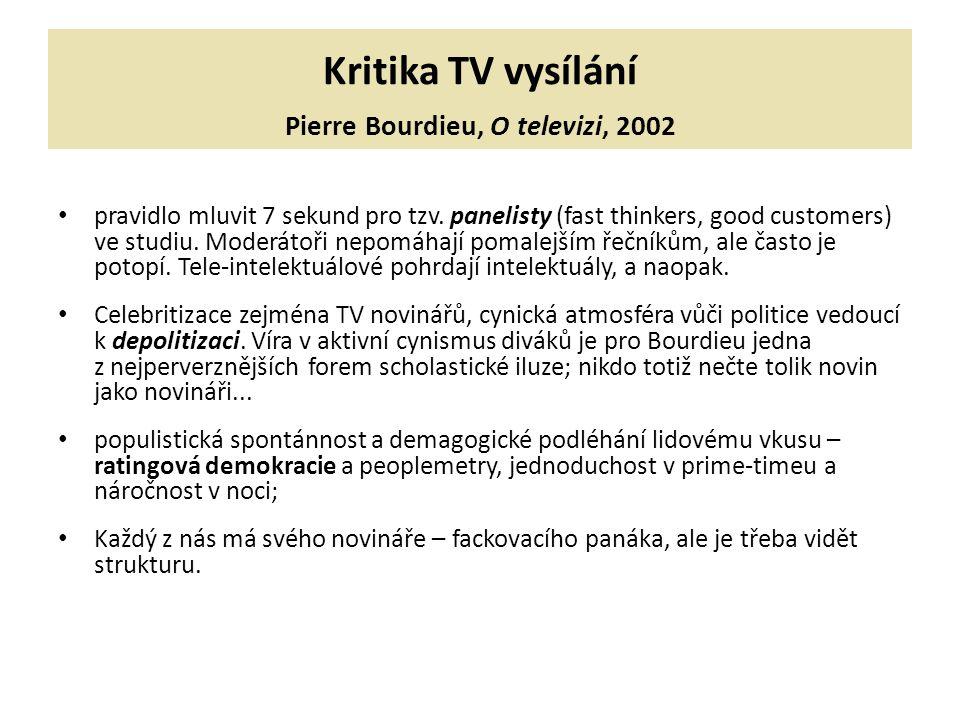 Kritika TV vysílání Pierre Bourdieu, O televizi, 2002 pravidlo mluvit 7 sekund pro tzv. panelisty (fast thinkers, good customers) ve studiu. Moderátoř
