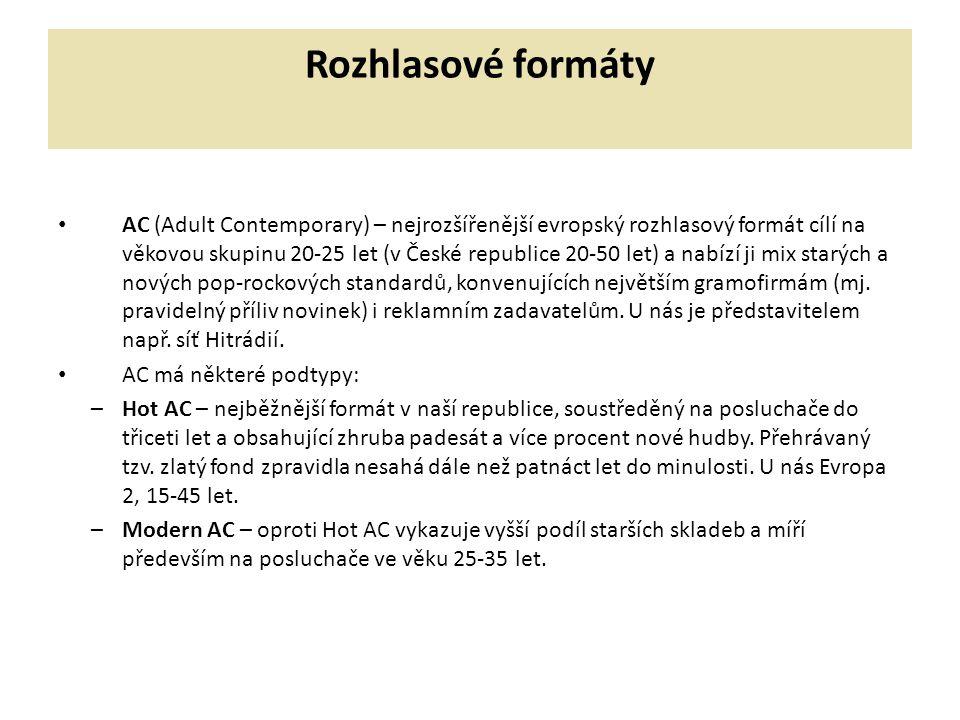 Rozhlasové formáty AC (Adult Contemporary) – nejrozšířenější evropský rozhlasový formát cílí na věkovou skupinu 20-25 let (v České republice 20-50 let