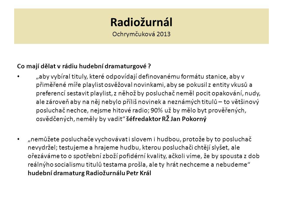 """Radiožurnál Ochrymčuková 2013 Co mají dělat v rádiu hudební dramaturgové ? """"aby vybíral tituly, které odpovídají definovanému formátu stanice, aby v p"""