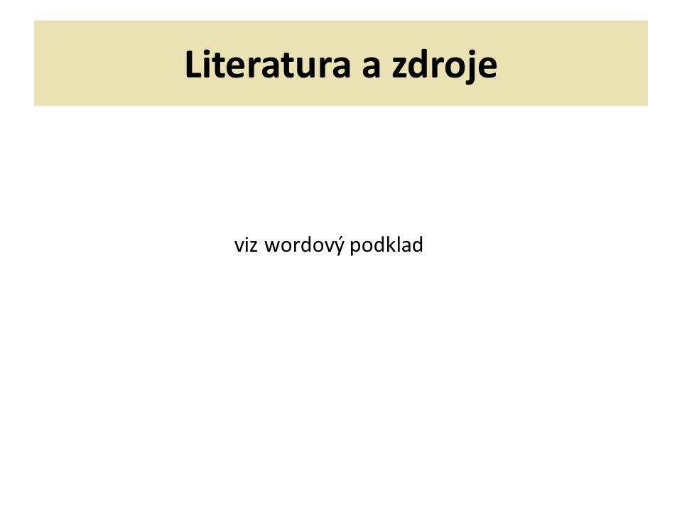Literatura a zdroje viz wordový podklad