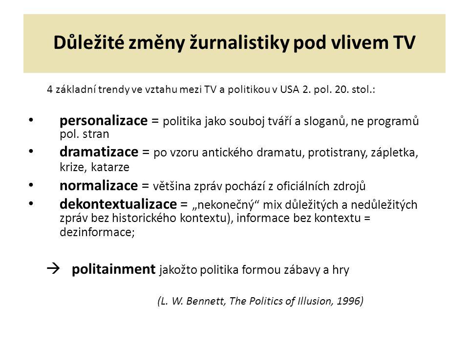Důležité změny žurnalistiky pod vlivem TV 4 základní trendy ve vztahu mezi TV a politikou v USA 2. pol. 20. stol.: personalizace = politika jako soubo