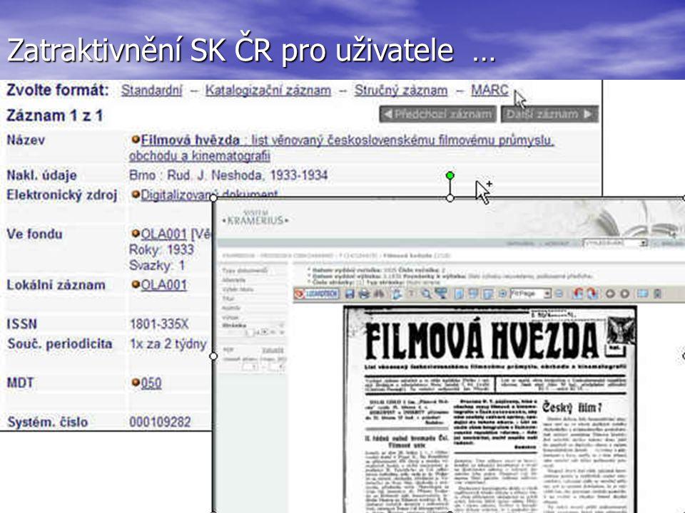 Zatraktivnění SK ČR pro uživatele …