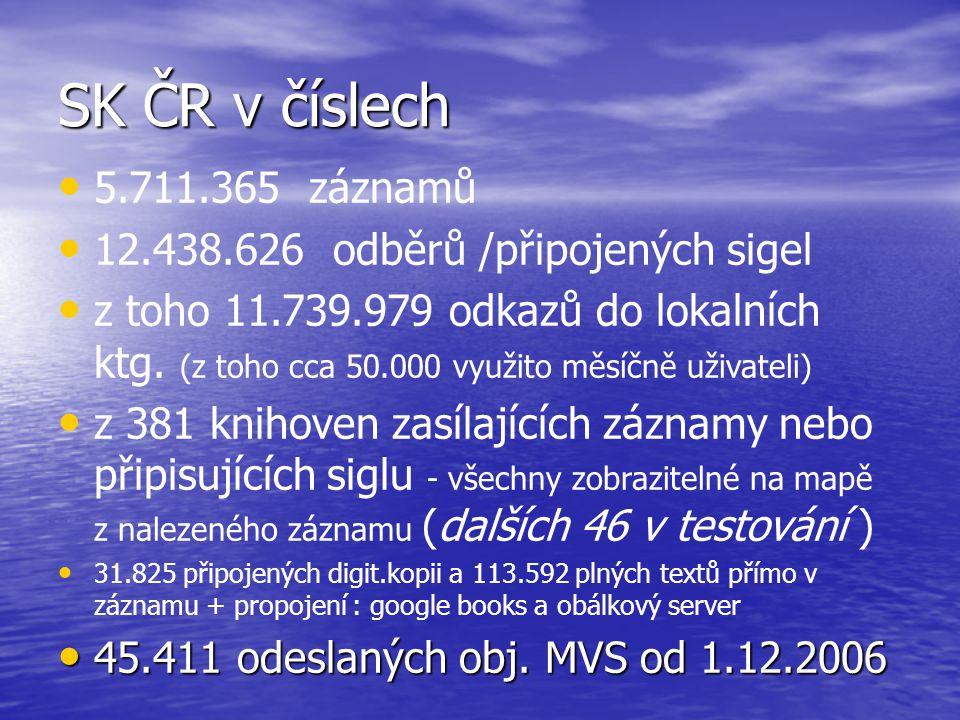 SK ČR v číslech 5.711.365 záznamů 12.438.626 odběrů /připojených sigel z toho 11.739.979 odkazů do lokalních ktg. (z toho cca 50.000 využito měsíčně u