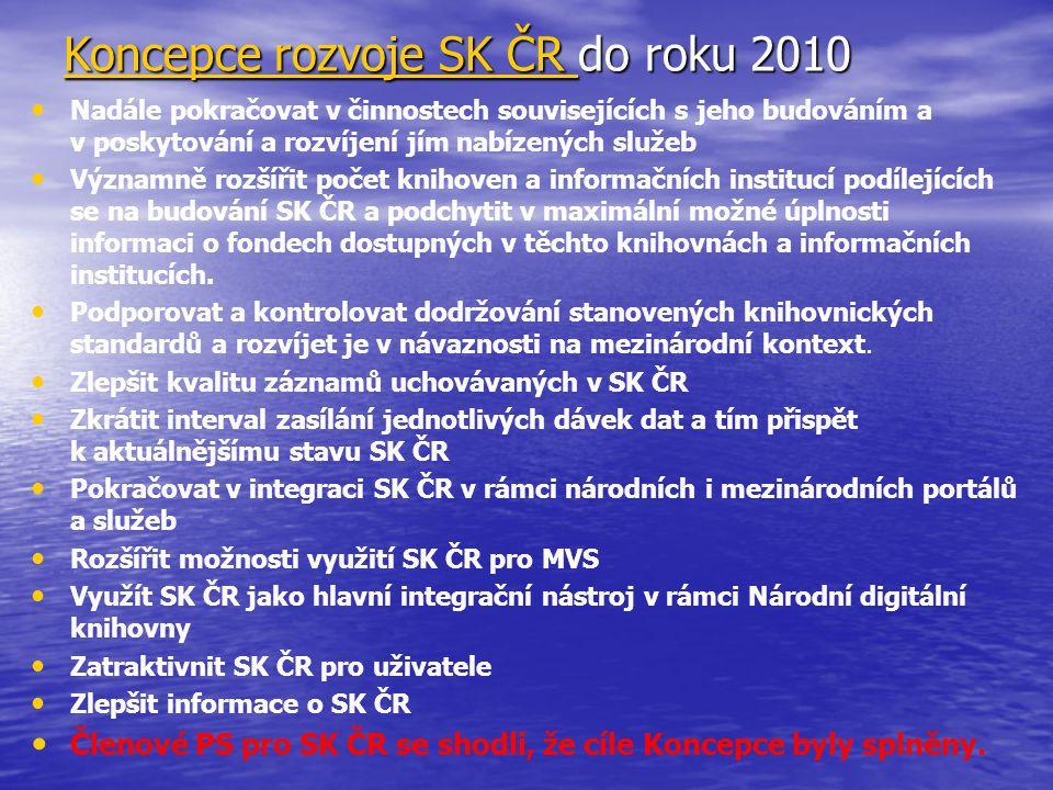 Koncepce rozvoje SK ČR Koncepce rozvoje SK ČR do roku 2010 Koncepce rozvoje SK ČR Nadále pokračovat v činnostech souvisejících s jeho budováním a v po