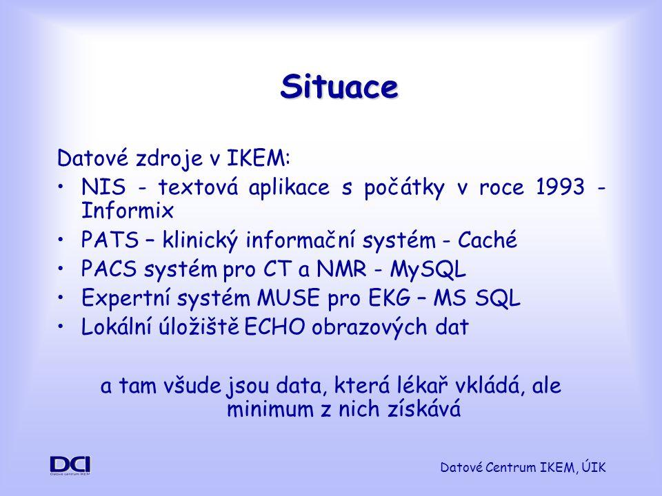 Datové Centrum IKEM, ÚIK Situace Datové zdroje v IKEM: NIS - textová aplikace s počátky v roce 1993 - Informix PATS – klinický informační systém - Caché PACS systém pro CT a NMR - MySQL Expertní systém MUSE pro EKG – MS SQL Lokální úložiště ECHO obrazových dat a tam všude jsou data, která lékař vkládá, ale minimum z nich získává